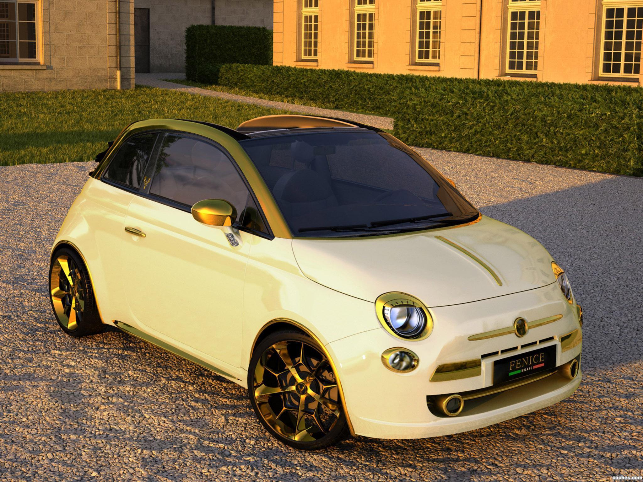 Fenice Milano Fiat 500c gold oro coche car